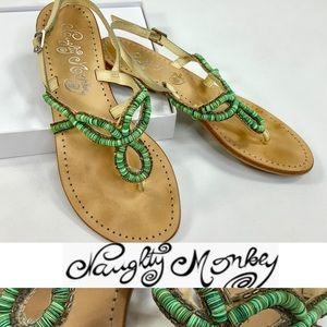 NAUGHTY MONKEY embellished natural thong sandals